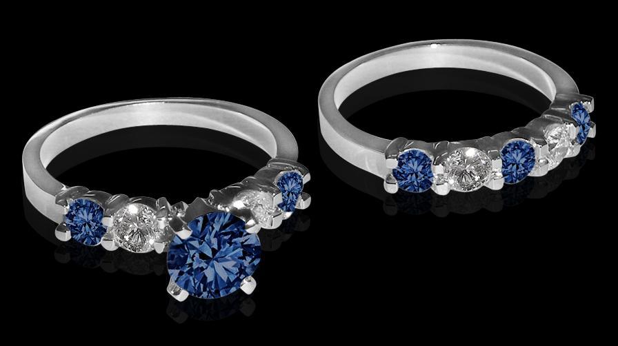 blue white 4.26 ct. diamonds engagement ring band set