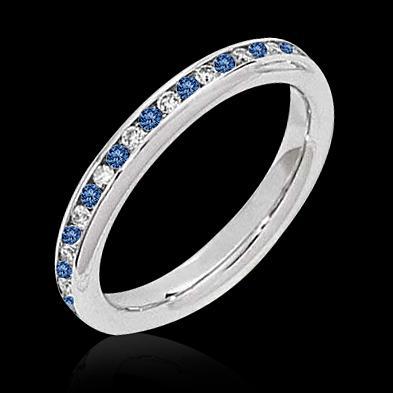 0.50 ct. blue diamonds eternity wedding band gold ring