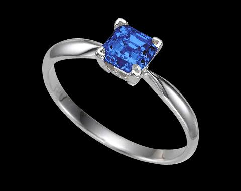 0.50 ct. blue princess cut diamond solitaire ring gold