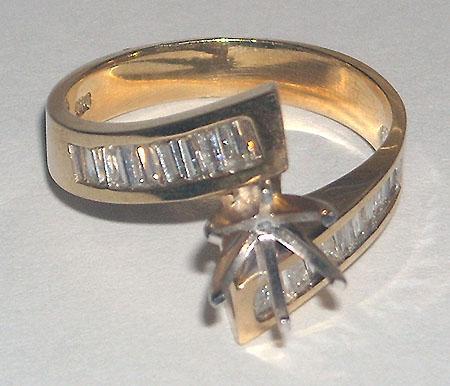 0.60 carat diamond ring yellow gold mounting semi mount