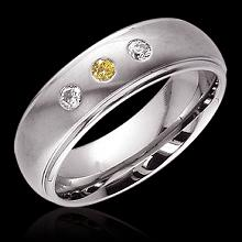 0.60 carat Yellow canary diamonds 3-stone BAND ring new