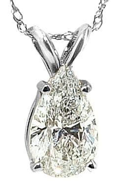 0.75 ct. pear diamond pendant white gold necklace