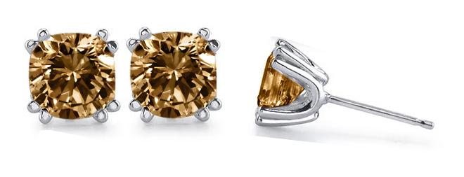 1 carat champagne diamond stud earrings cushion cut