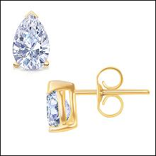 1 carat G VS1 diamond stud earring pair yellow gold diamond earring
