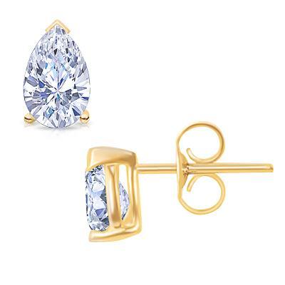 1 carat G VS1 diamond stud earring pair yellow gold diamond earring