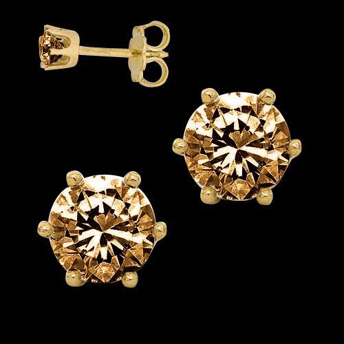 1 Carats Chocolate diamonds stud earrings pair brown earrings pair