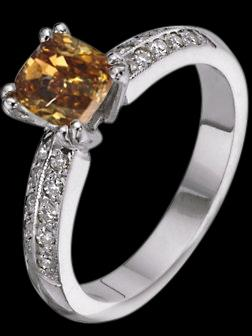 Champagne brown cognac cushion & white diamonds 2 ct. engagement ring gold white
