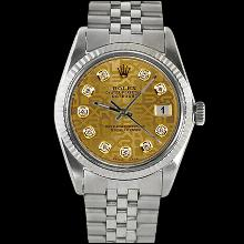 Champagne diamond dial fluted datejust gents watch rolex SS jubilee bracelet