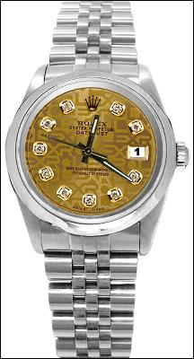 Champagne diamond dial SS jubilee rolex date just perpetual watch datejust