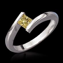 0.75 cts. Diamond solitaire ring yellow canary princess