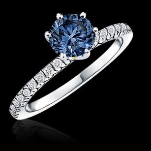 Blue & white diamonds 1.66 carat engagement ring new