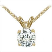 1.25 carat yellow gold E VVS1 diamond pendant with chain