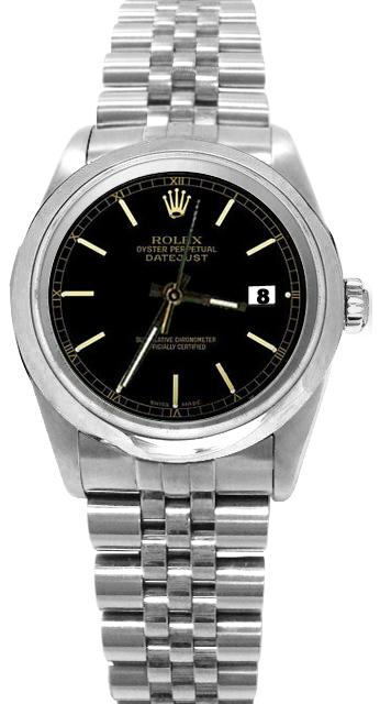 Black stick dial rolex date just watch SS jubilee bracelet perpetual datejust