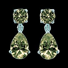 Cognac diamonds dangle earrings 2.50 carats fancy color