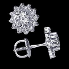 Diamond stud earrings 3.70 cts. Screw back ear ring