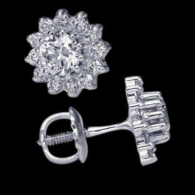 Diamond stud earrings 3.70 cts. Screw back ear ring