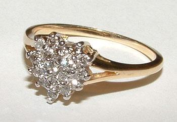 Diamonds 0.35 carats DIAMOND RING HEART STYLE gold !
