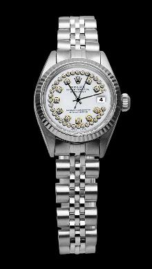 Fluted bezel ladies watch rolex datejust white double row diamond dial SS jubile