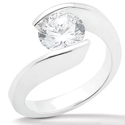 1 carat diamond solitaire ring white gold 14K engagement jewelry ring
