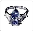 Blue pear & trillion diamonds 1.65 cts. ring 3-stone