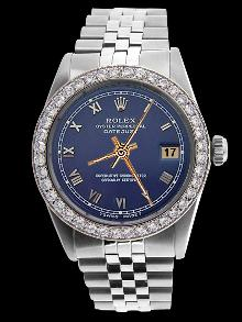Blue roman dial datejust gents watch jubilee SS bracelet rolex diamond bezel