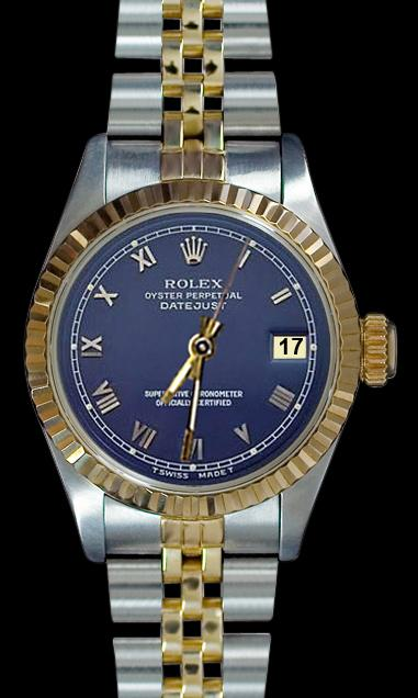 Blue roman dial datejust lady watch SS & yellow gold jubilee bracelet rolex