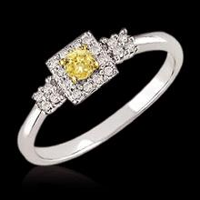 1 ct. engagement ring 3-stone Yellow canary diamonds