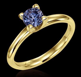 1 CT. BLUE DIAMOND Solitaire engagement ring yellow gold new