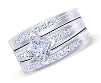2 carat princess center diamond engagement ring white gold 14K new