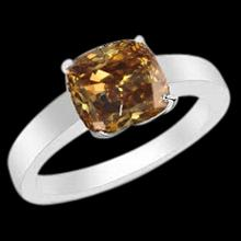 Brown cognac champagne Cushion center diamond 1 carat solitaire ring