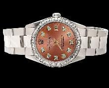 Brown diamond dial bezel datejust watch Stainless steel oyster bracelet rolex