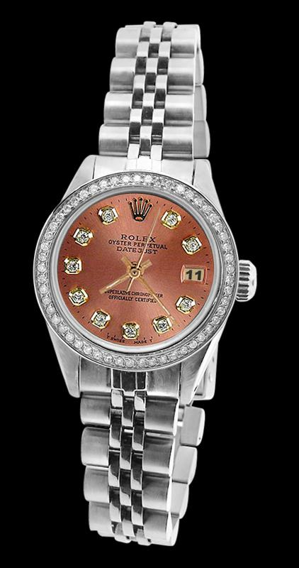 Brown diamond dial bezel jubilee SS bracelet datejust women watch rolex