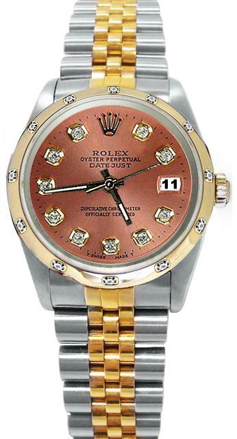 Brown diamond dial bezel pearlmaster Rolex datejust watch two tone jubilee