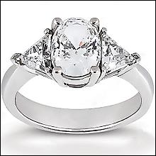 Big diamonds engagement ring three stone 2.71 ct. ring