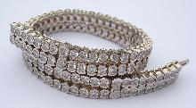 24.5 carats carpet diamond tennis bracelet round bezel