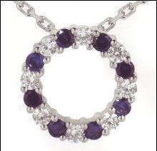 2.62 carats Diamond & sapphire pendant circle gold neck