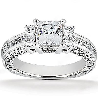 2.62 Ct. Princess cut DIAMOND RING white gold F VS1 new