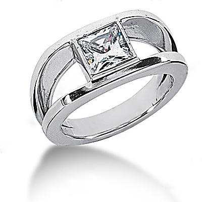 0.75 Ct. Diamond solitaire ring princess cut gold ring