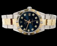 Date just pearl master diamond rolex watch black diamond dial SS & gold oyster