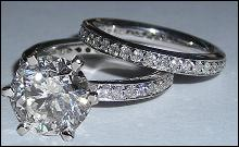 5 carats DIAMOND engagement wedding ring set SOLITAIRE RING AND BAND SET
