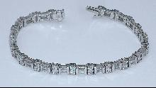8 carat DIAMONDS TENNIS BRACELET VS baguettes and round 14K WHITE GOLD