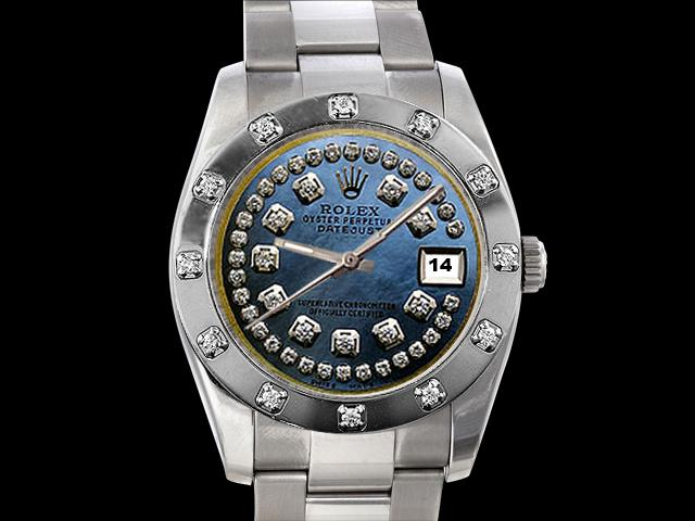 Bezel pearlmaster string blue dial rolex watch lady man date just