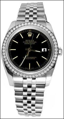 Black stick dial date just diamond bezel jubilee SS Rolex datejust watch