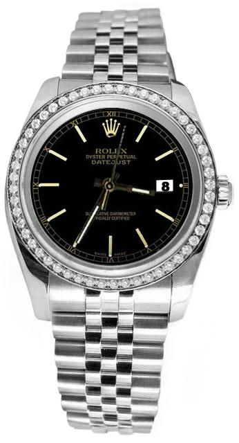 Black stick dial date just diamond bezel jubilee SS Rolex datejust watch