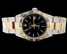 Black stick dial datejust watch rolex pearl master diamond SS & gold oyster