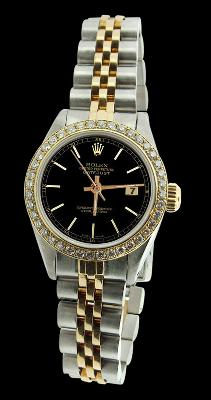 Black stick dial datejust women rolex watch SS & gold jubilee diamond bezel
