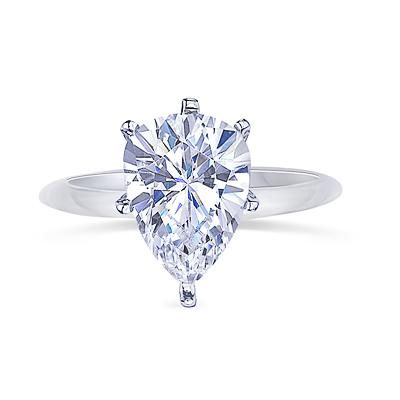 0.75 carat pear diamond solitaire engagement ring white gold 14K new