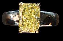 0.75 ct. yellow canary radiant diamond solitaire ring