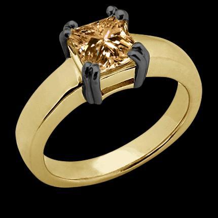 0.75 Ct. Yellow gold brown diamond jewelry ring new