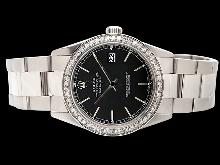 Black stick dial rolex watch datejust SS oyster bracelet diamond bezel